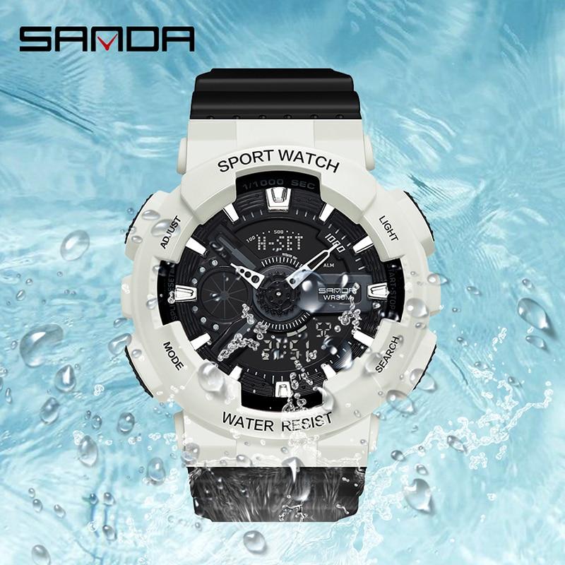 SANDA filles montres mode Bracelet horloge antichoc compte à rebours femmes montre de luxe lumineux 4 réveils montre-Bracelet 3