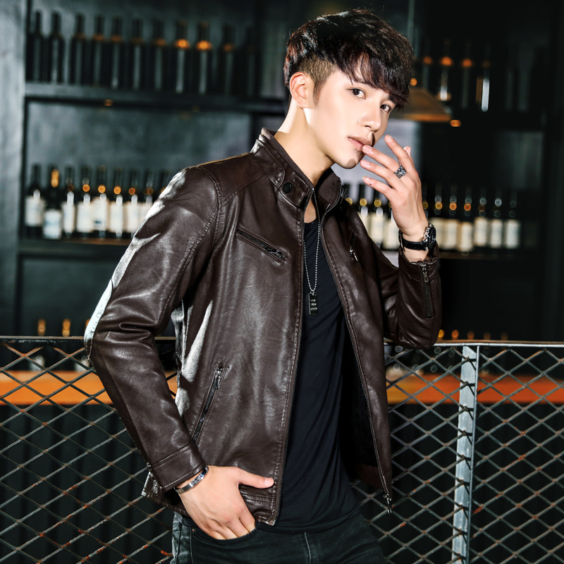 2018 Winter MEN'S Leather Coat Korean-style Youth Men's PU Leather Jacket Locomotive Handsome Men'S Wear New Style Plus Velvet