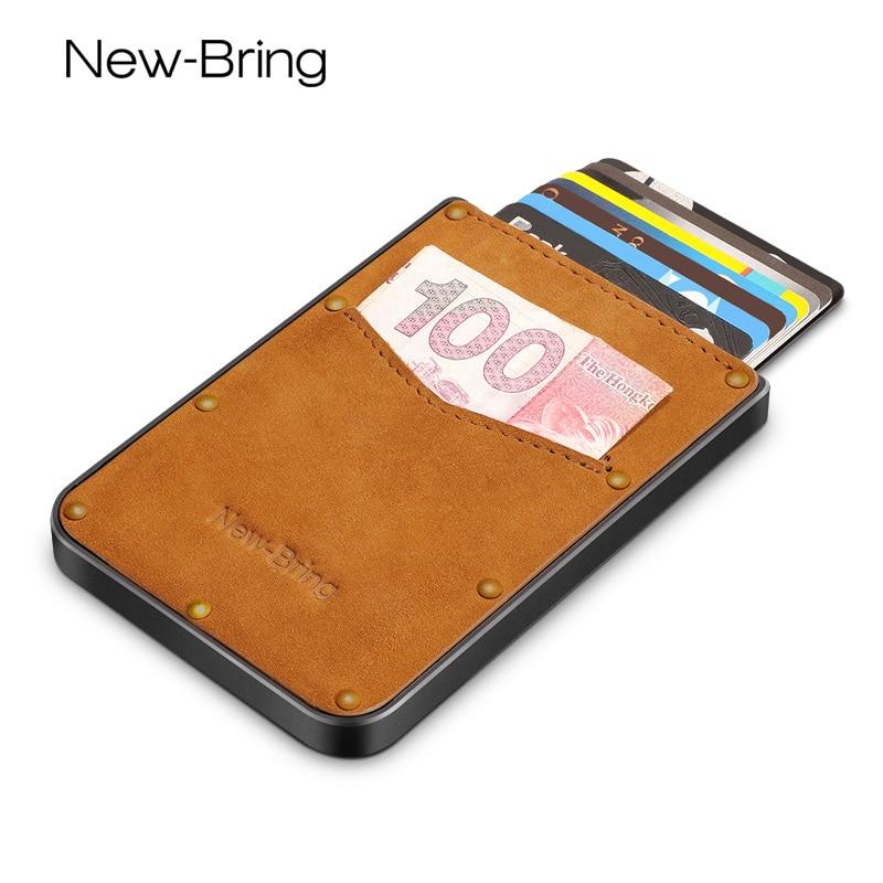 NewBring Genuine Leather Metal Slim Pulled Black Warrior Men Wallets Mini Portable Bank Card Holder Purse