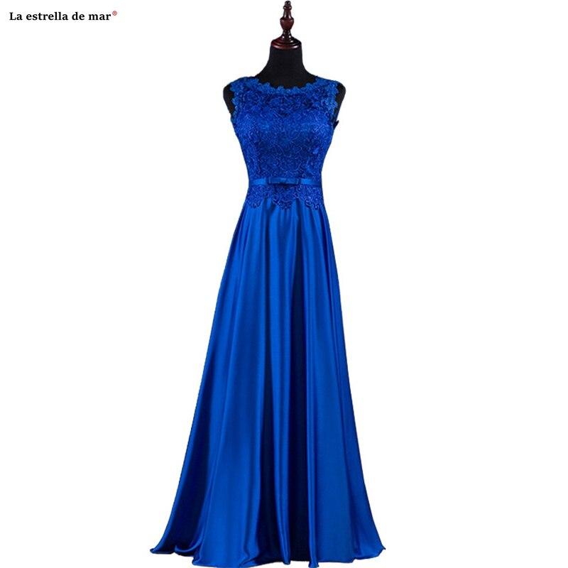 Vestidos De Invitada De Boda New Lace Satin A Line Royal Blue Green Red Pink Bridesmaid Dress Long Vestidos De Fiesta De Noche