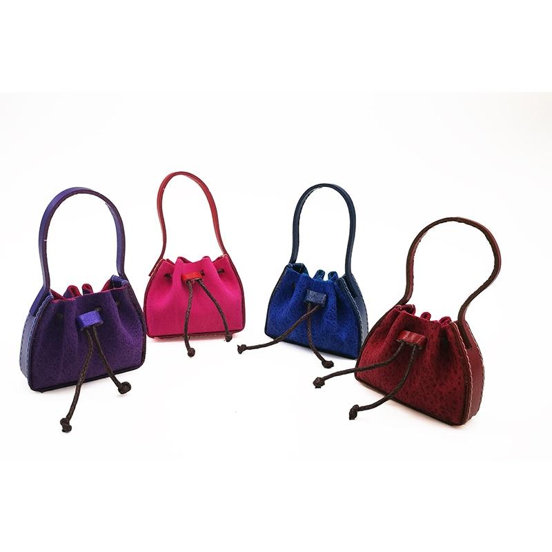 1:6 Dollhouse Miniature Leather Handbag Purse Lady's Shoulder Bag Fashion Doll's Accessory