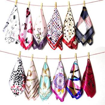New 50*50 Elegant Spring Printed Silk Scarf Women Ladies Scarves Multifunction Hair Tie Headwear Luxury Design Retro Neckercief - discount item  40% OFF Scarves & Wraps