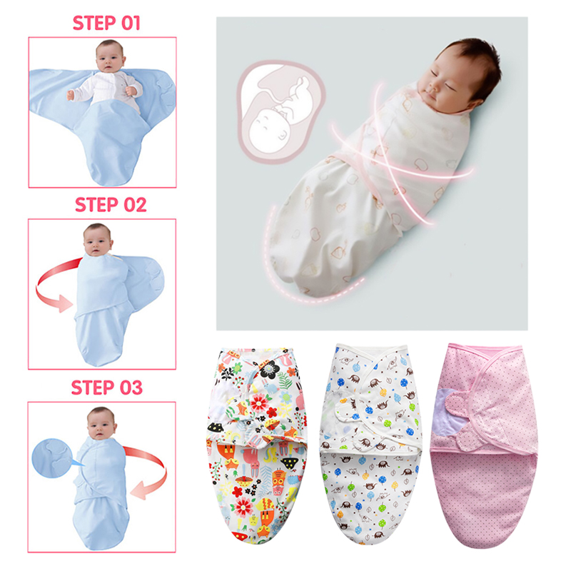 Babies Sleeping Bags Newborn Baby Cocoon Swaddle Wrap Envelope 100%Cotton 0-6 Months Baby Blanket Swaddling Wrap Sleepsack