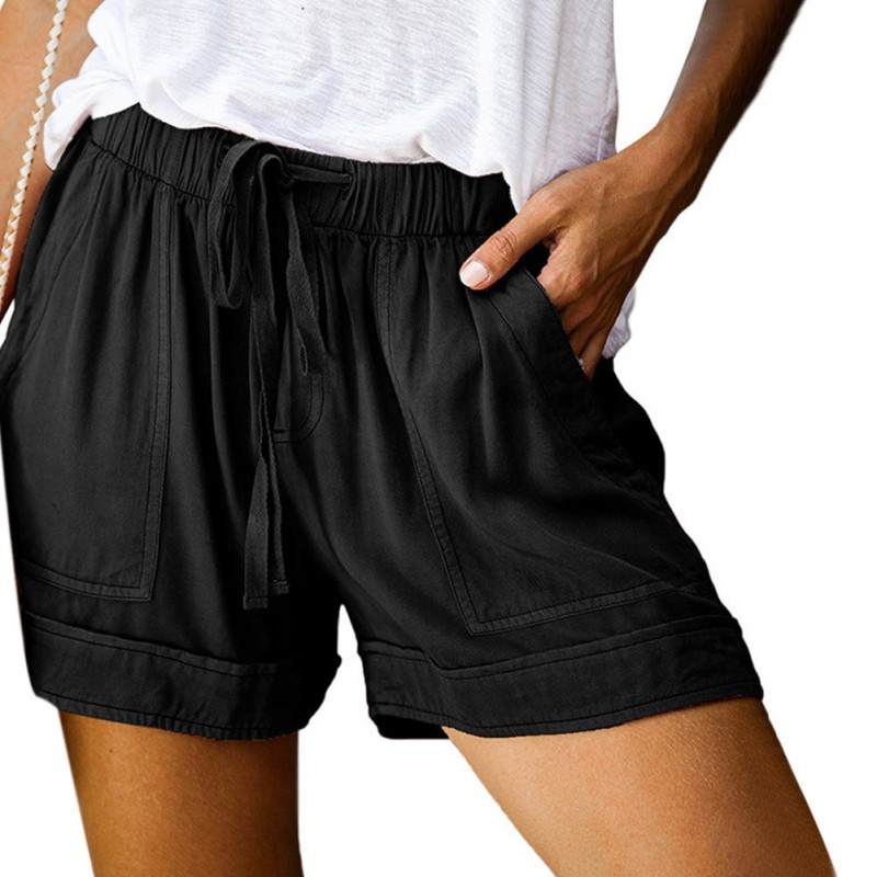 Women shorts Summer Casual Solid Cotton shorts high waist loose shorts Pockets for girls Soft Cool female short Plus Size S-5XL