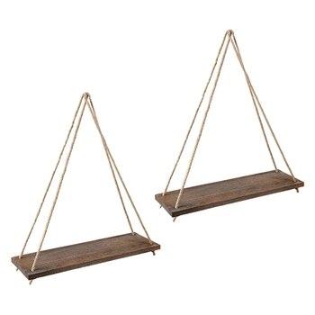 Wood Wall Floating Shelf Rustic Hanging Swing Rope Shelves, Set Of 2 Wall Display Shelves Home Organizer Boho Decor Shelves for фото