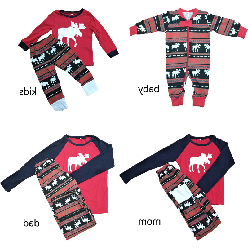 Christmas Elk Pajamas Family Matching Clothes Outfits Look Father Mother Kids & Baby's Sleepwear Clothing Christmas Pajamas Sets