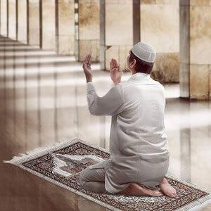 Image 1 - 1 Pcs הרמדאן קוראן אסלאמי מוסלמי תפילת שטיח שטיח מחצלת פוליאסטר Namaz סאלאט ציצית מפת שולחן כיסוי יוגה מחצלת 70x110cm