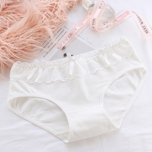 Sweet Women Lace Bow Panties Candy Color Female Comfortable Soft Underwear Intimates Mid-waist Briefs K