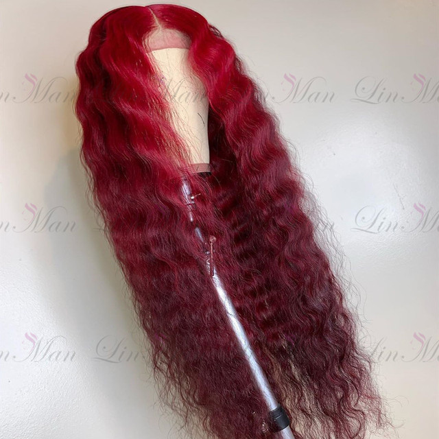13×6 Dark Red&Wine Red Color Lace Front Human Hair Wig Remy Brazilian Deep Wave Hair Ombre Lace Wig for Women 3