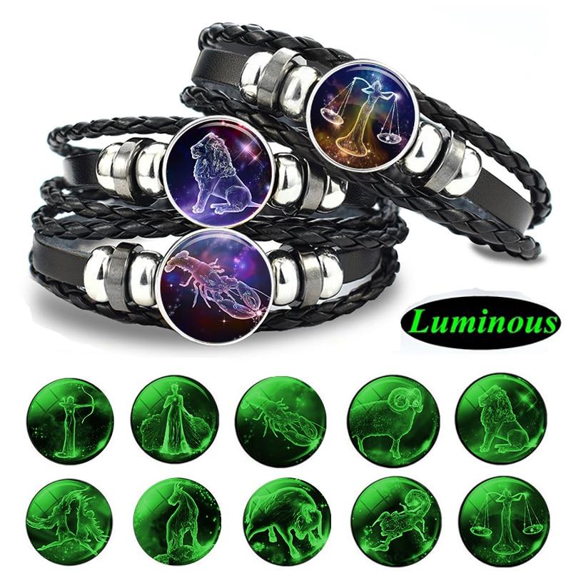 Gemini Leo Libra Scorpio Sagittarius 12 Constellation Luminous Bracelet Leather Bracelet Zodiac Charm Jewelry Bracelet for Men