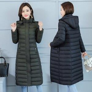 Image 3 - Kurtka zimowa damska ciepły bawełniany płaszcz z kapturem długa ocieplana kurtka z bawełny znosić długie parki 2019 nowa zimowa odzież damska
