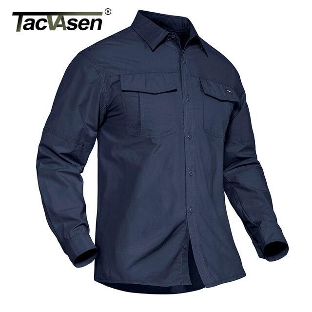 TACVASEN Summer Tactical Military Shirts Men Lightweight Quick Dry Cargo Work Shirts Long Sleeve Combat Army Shirts Fish Tops