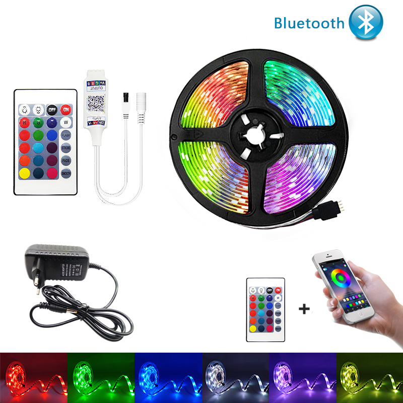 Bluetooth <font><b>LED</b></font> Strip Lights 20M RGB <font><b>5050</b></font> SMD Flexible Ribbon Waterproof RGB <font><b>LED</b></font> Light 5M 10M Tape Diode DC 12V Bluetooth Control image