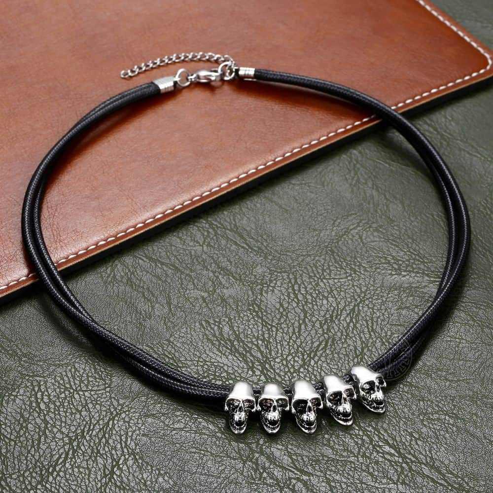 Moda w stylu Vintage czaszka naszyjnik charms dla mężczyzn chłopiec kobiety ze stali nierdzewnej Rock biżuteria punkowa prezenty na halloween DN135