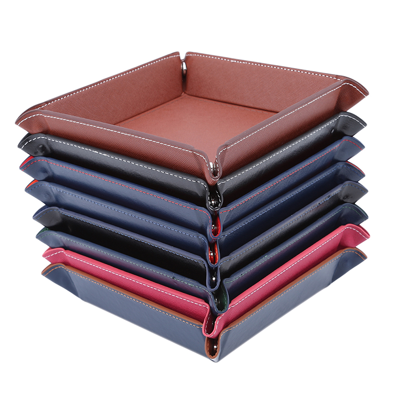 Creative PU Leather Valet Trinket Folding Tray Collapsible Phone Key Wallet Coin Desktop Storage Sundries Box Bins Accessories