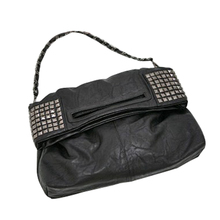 Women's Korean Faux Leather Rivet Chain Foldable Shoulder Handbag Cross body Bag cross layered faux leather bracelet