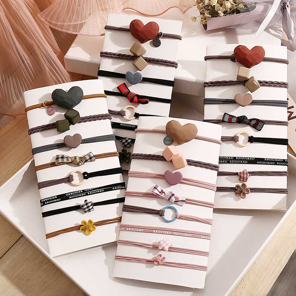 3/6/8 pièces perle fleur base élastique bandes de cheveux pour les filles rose cravate gomme Scrunchie anneau bandes de caoutchouc 2020 cheveux accessoires ensemble