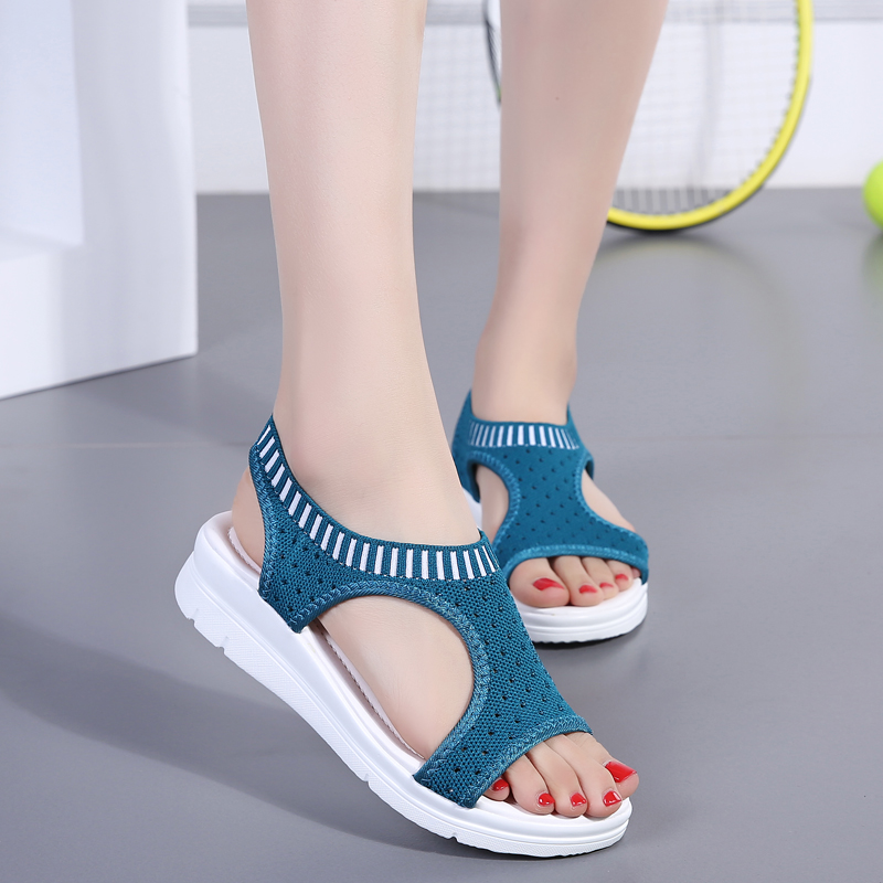 He6bc3c8bf09c4208818066f4277f2bf1A - Sandals Women Fashion Breathable Comfort Ladies Sandals Summer Shoes wedge Black White Sandal