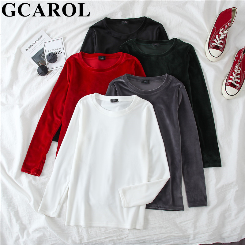 GCAROL 2020 Early Spring Women O Neck Pleuche Sweater OL Body Fit Warm Soft Handle Jumper Stretch Candy Color Render Pullover