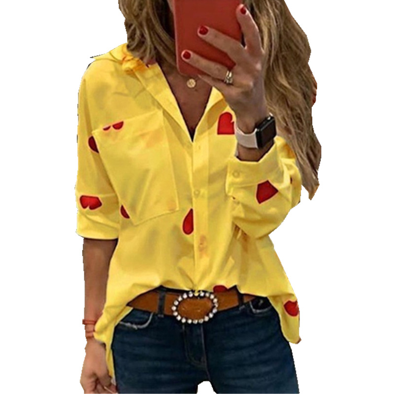 Plus Size Ladies Office Shirts Long Sleeve White Yellow Red Heart Print Woman Blouses 4xl 5xl Turn Down Collar Casual Top