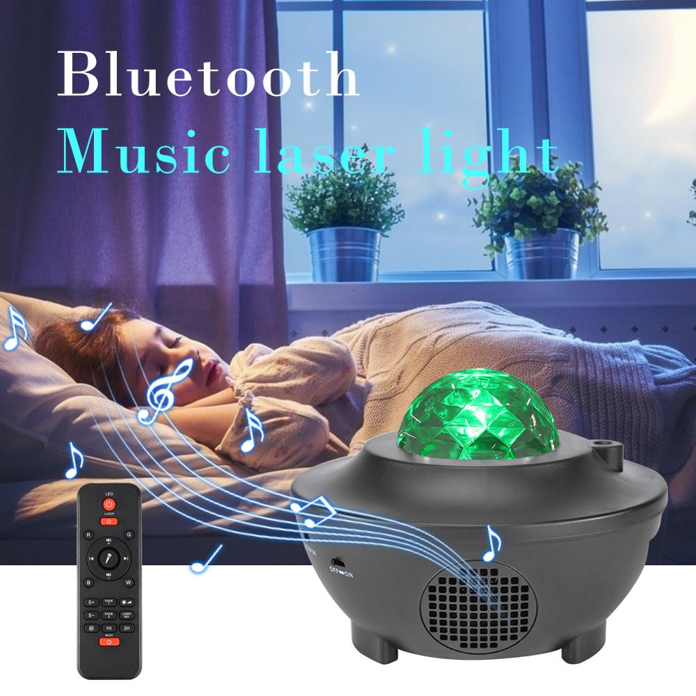 Colorful Starry Sky Projector Blueteeth USB Voice Control Music Player LED Night Light Ocean Wave Romantic Projection Lamp