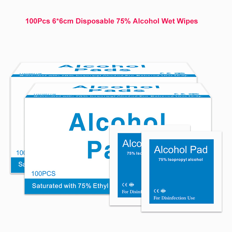 100Pcs 6*6cm Disposable 75% Alcohol Wet Wipes Alcohol Disinfection Swap Pads Anti-viral Antiseptic Skin Cleaning Wet Wipes
