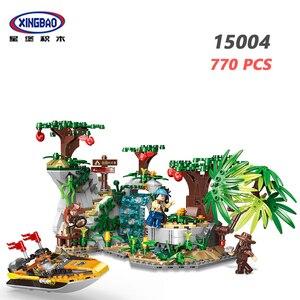 XINGBAO 15004 серии лесных приключений, 770 шт., для изучения примитивных племен, строительные блоки, лодки и модели леса, кирпичи