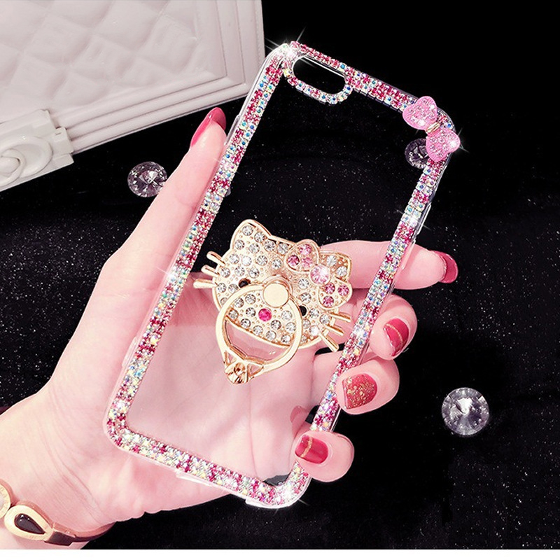Bling Diamond Ring Transparent Soft <font><b>Case</b></font> Cover for <font><b>iPhone</b></font> 11 Pro XS Max XR X <font><b>8</b></font> 7 6S Plus 5S SE 2020 3D <font><b>Cat</b></font> Heart Luxury Shell image