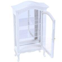 Dollhouse Miniature Showcase Cupboard Display Shelf Cabinet Kitchen New 1/12 Dining White