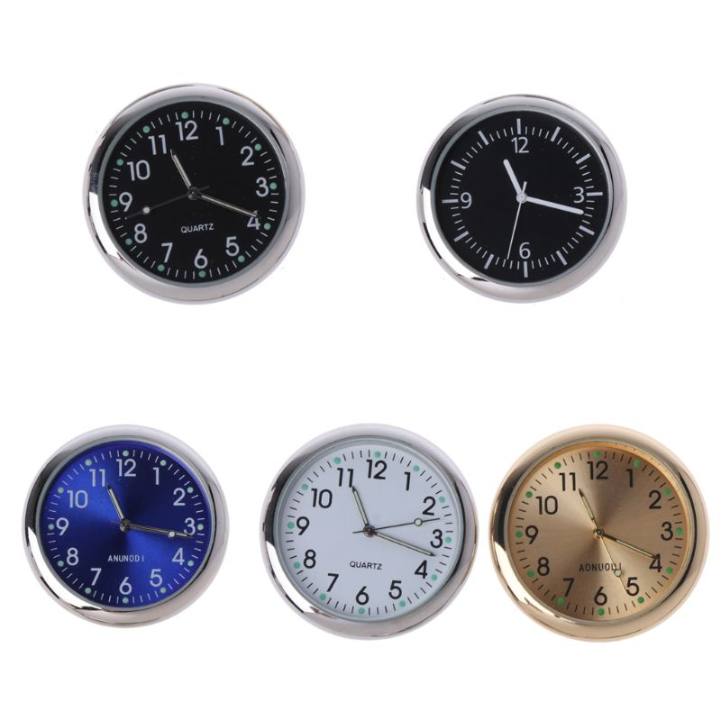 Universal Round Car Clock Stick-On Electronic Watch Dashboard Noctilucent Decoration For SUV Cars
