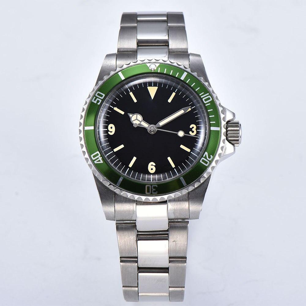 Watch automatic mechanical watch luminous hand men's movement 40 mm steel shell green aluminum bezel brushed bracelet 1013