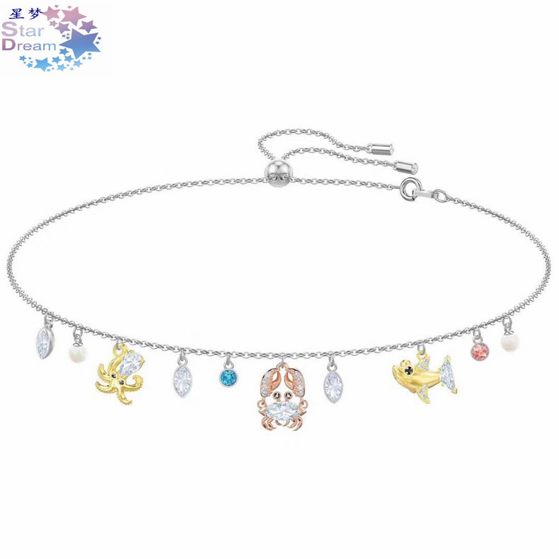 Cross Border Accessories Swarovski Element New Style Silver Underwater World Octopus Crab Shark Pearl Necklace Women's