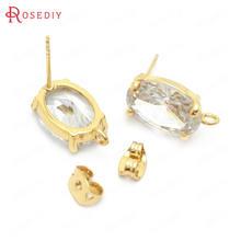 (37854)6 шт 10x14 мм 24k золото цвет латунь и циркон овальной