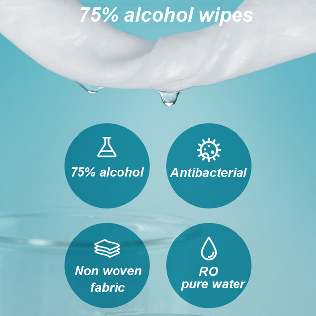 75% Disinfecting Alcohol Wipes Disposable Hand Wipes Skin Cleaning Bacteria Disinfection Wipes Alcohol Cotton 50Pcs/Bag 2