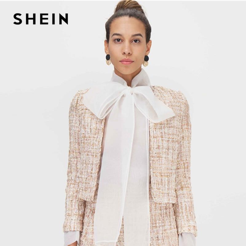 SHEIN Khaki Open Front Tweed Elegant Spring Jacket Coat Women  Clothing 2019 Autumn Fashion Long Sleeve Ladies Party JacketsJackets