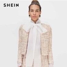 SHEIN Khaki otwarta przednia Tweed elegancka wiosenna kurtka płaszcz kobiety odzież 2019 jesień moda z długim rękawem panie Party kurtki