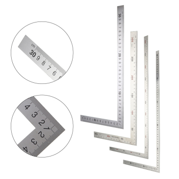 90 Degree Angle Ruler Stainless Steel L Shape Double Sided Measuring Tool Metal Straight for Office School Supplies - discount item  30% OFF Drafting Supplies