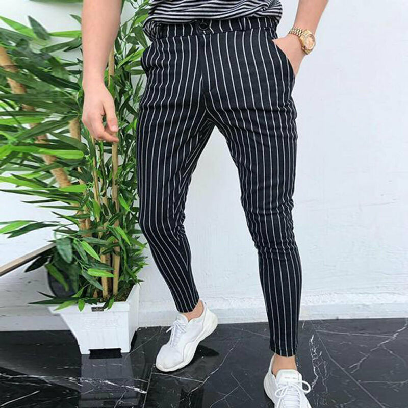2019 New Men Slim Fit Striper Trousers Tracksuit Pockets Button Skinny Joggers Sport Sweat Track Pants Streetwear Casual Bottoms