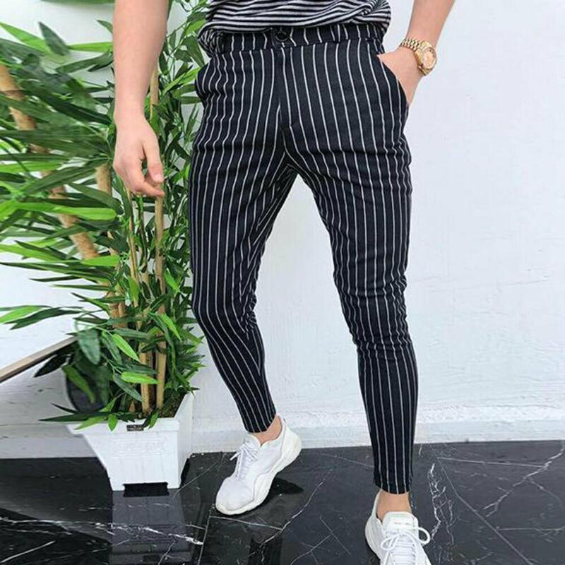 2019 New Men Slim Fit Striper Trousers Tracksuit Pockets Button Skinny Joggers Sport Sweat Track Pants Streetwear Casual Bottoms