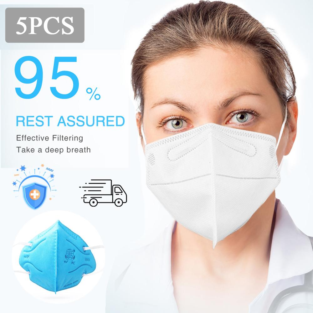 5pcs KN95 Респиратор PPE Dustproof Windproof Face Masks Anti-Saliva Mouth Covers Respirators PM 2.5 Safety Protective Cover