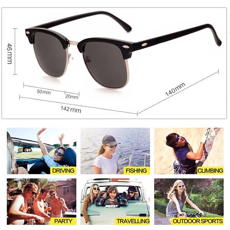 Terpolarisasi Semi Tanpa Bingkai Kacamata Hitam Wanita/Pria Terpolarisasi UV400 Klasik Merek Desain Retro Oculos De Sol Gafas