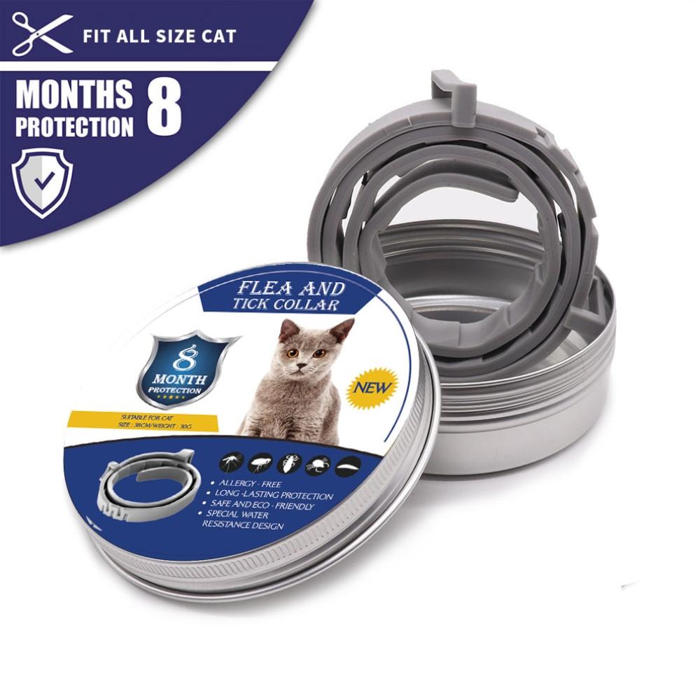Ошейник для собак и кошек 8 месяцев ошейник для защиты от клещей, силиконовый регулируемый ошейник для комаров для питомцев Аксессуары для кошек|Ошейники и поводки для кошек|   | АлиЭкспресс