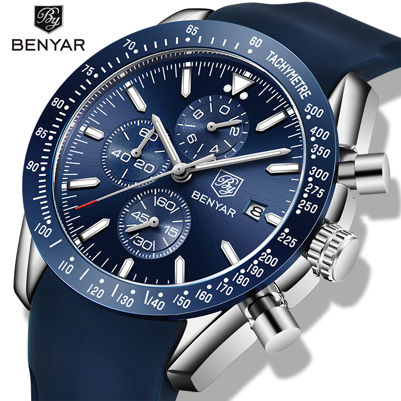 BENYAR Business Quartz Men's Watches New Top Luxury Brand Chronograph Men Waterproof Silicagel Clock Men Watch Relogio Masculino