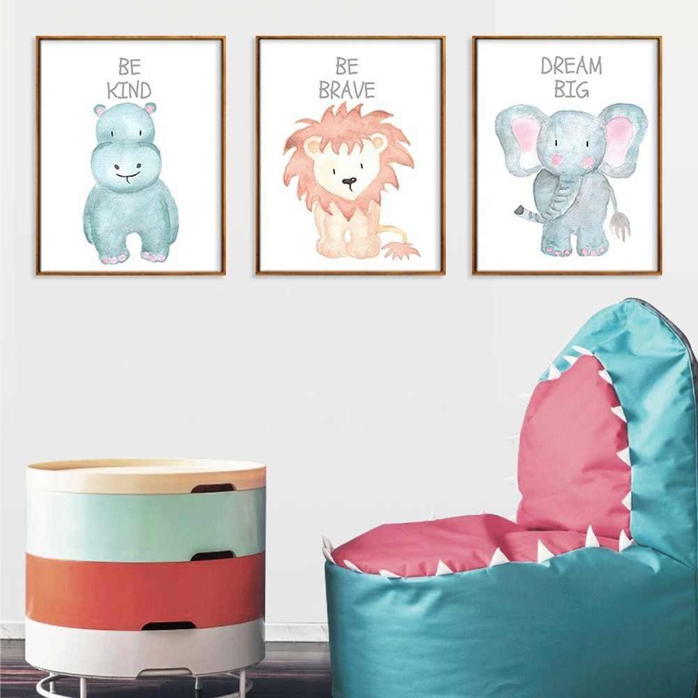 Animais dos desenhos animados pintura em tela bonito elefante leão zebra girafa cartaz do jardim de infância quarto do bebê das crianças arte da parede decoração