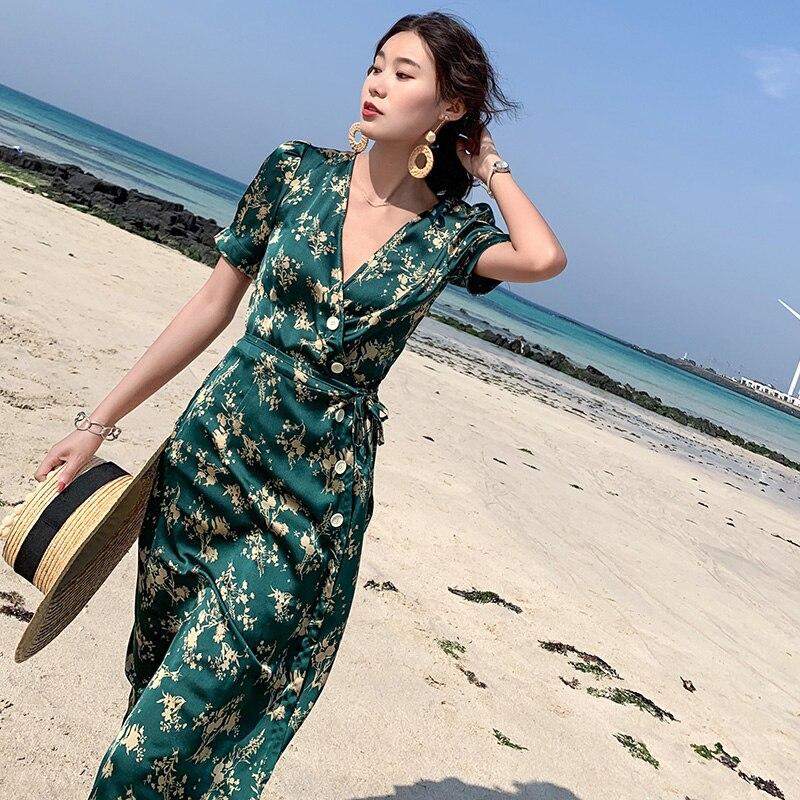 Summer Women Floral Print Green Satin Dress Slim Elegant Boho Vacation Tropical Midi Beach Dress Vintage Korean Runway Dresses