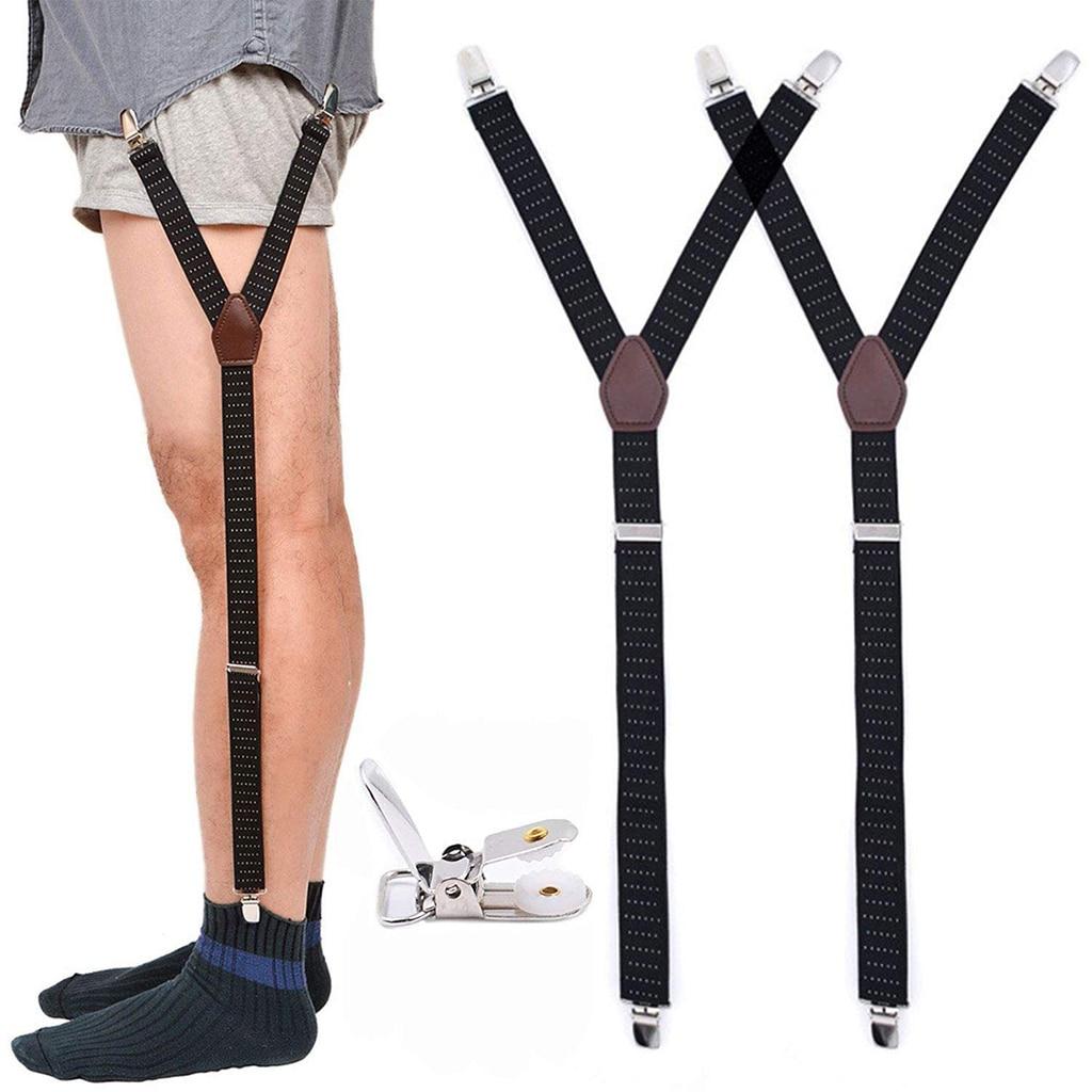 Mens Fashion Shirt Stays Garters Y Shape Military Adjustable Elastic Shirt Holders Straps Sock Non-slip Clamps Leg Suspenders