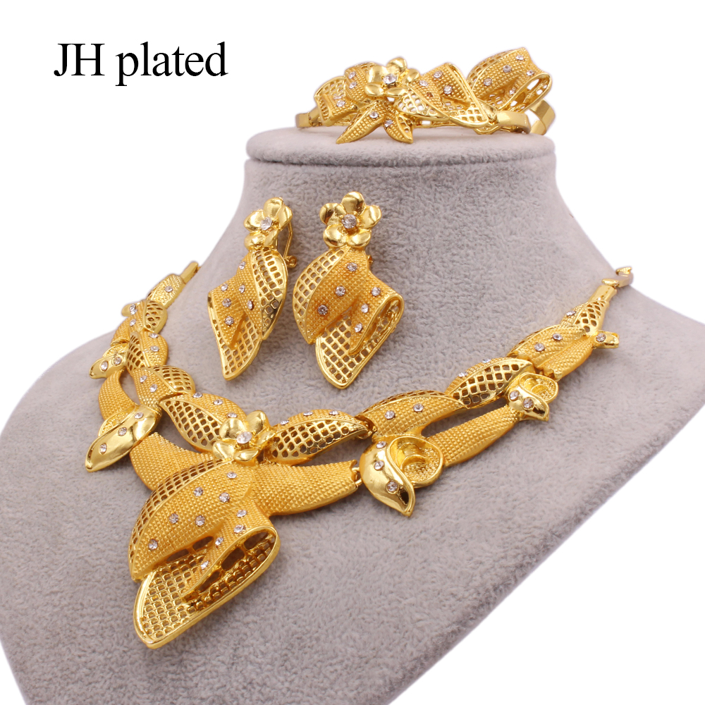 Jewelry sets new Dubai 24K Gold color Ornament for women necklace earrings bracelet ring African wedding wife gifts jewelery set