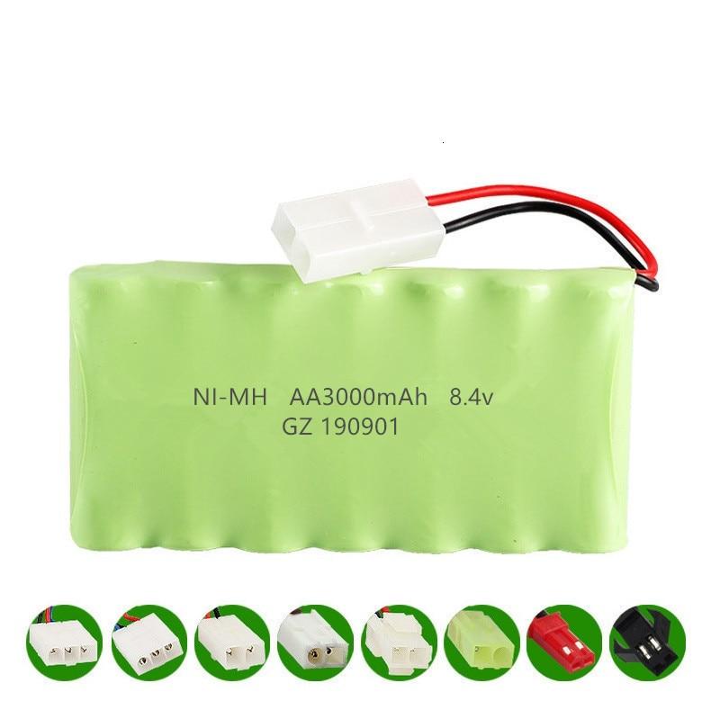 NHFGJ Batterie 8.4 v 3000 Mah avec Chargeur 8.4 v pour Jouets Rc Voiture Train Robot Bateau AA 8.4 v 2400 Mah Nimh Batterie Gold