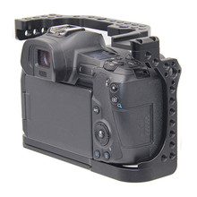 Gaiola de câmera protetora para canon eos r w/coldshoe 3/8 1/4 furos de rosca câmera vídeo estabilizador liberação rápida suporte da placa