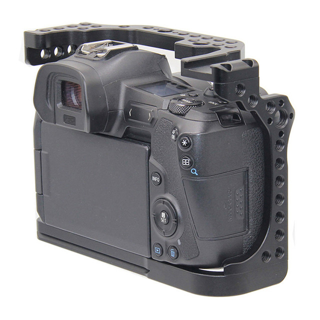 Protective Camera Cage for Canon EOS R w/ Coldshoe 3/8 1/4 Thread Holes Camera Video Stabilizer Quick Release Plate Bracket